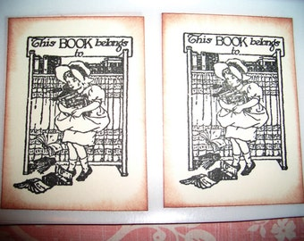 Bookplates - Victorian Girl Carrying Her Books - Set of Six