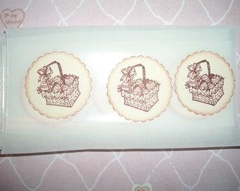 Easter Basket, Sticker Seals - Envelope Seals - Set of Twelve