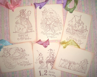 Nursery Rhymes Gift Tags Assortment- Baby Shower - Wish Cards - Children's Tags