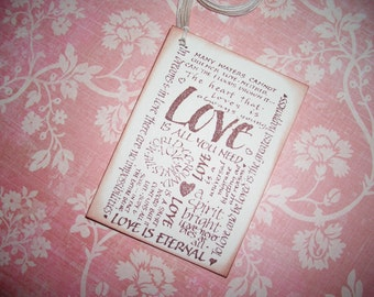 Wedding Tags - Love Phrases - Wish Cards - Wish Tree Tags - Shower Tags - Set of Six