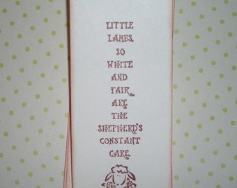 Little Lambs Bookmark - Sunday School - Holy Communion - Easter - Bible Class - Listing is for one bookmark