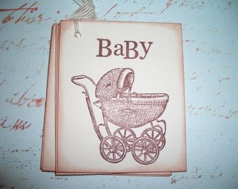 Baby Gift Tag - Vintage Baby Buggy - Wish Cards -  Wish Tree Tags -  Baby Shower - Set of Six