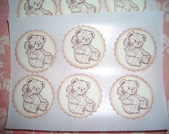 Teddy Bear  Stickers - Seals -  Sweet image  - Baby Shower - Set of Twelve