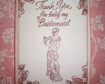 Wedding Card - Thank You for being my Bridesmaid - Beautiful Vintage Style Card