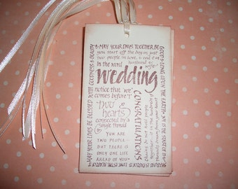 Wedding Gift Tags - Wedding Words & Quotes. - Wish Cards - Wish Tree Tags - Shower - Set of Six