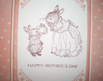 Mother's Day Card - Sweet - Holly Pond Hill Image A Present for Mom - Mother and Child Bunnies