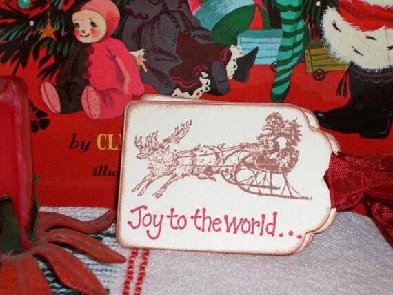 Christmas Gift Tags-Vintage Santa and Sleigh-Joy to the World - Set of Six
