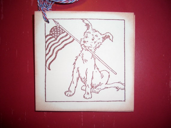 Dog  With Flag Tags - American Flag - Patriotic -  Set of Six - Cute