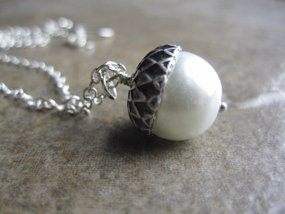 Pearl Acorn Necklace-Silver Chain and White Pearl
