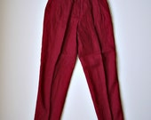Vintage Red High Waisted Taper Leg United Colors of Benetton Linen Pants Sz 38