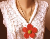 Evening Sunset - A Felted Flower Pendant Necklace