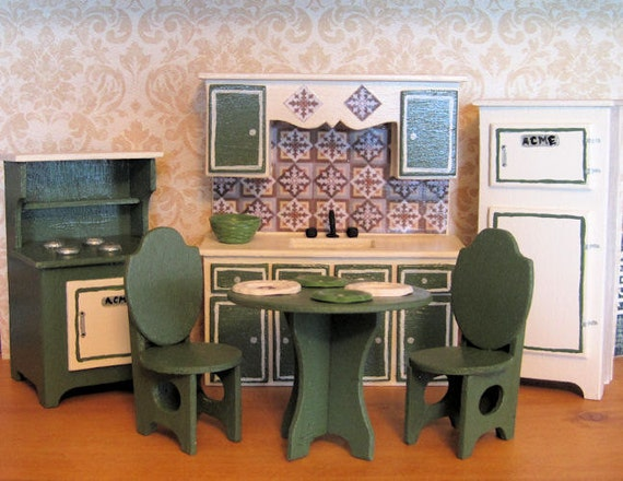 Handmade Retro Kitchen Olive Green Sink Stove Refrigerator NO TABLE/CHAIRS