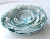 Fabric flower brooch, aqua blue, flower brooch , FREE SHIPPING, Ready to ship