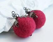 BUY 2 GET 1 FREE    Felt earrings,  raspberry  color , merino wool,  Ready to ship