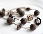 Felted necklace with ceramic beads, Dark brown color,  FREE SHIPPING , Ready to ship