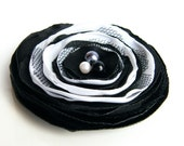 SALE, Fabric flower brooch, Fabric flower, Black White flower, Free Shipping , Ready to ship