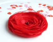 CLEARANCE - all must go, Valentines gift, Fabric flowers, Red flower, Fabric flower brooch, Fabric flower, Red floral, Free shipping