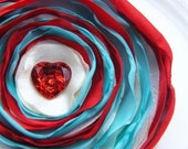CLEARANCE - all must go, Fabric flower Brooch, Red white aqua flower brooch, Fabric Flower, Fabric brooch, Heart button