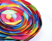 CLEARANCE - all must go, Colorful Fabric brooch, Fabric Flower hair clip, Rainbow Fabric Flower brooch, Floral brooch,