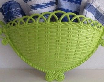 vintage Key Lime Basket for Storage - Wall Hanging