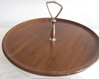 vintage Mid Century Walnut Tray with Handle - Crafted by Vermillion