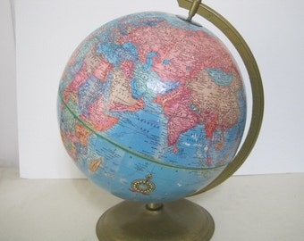 vintage Cram's Imperial World Globe on Metal stand