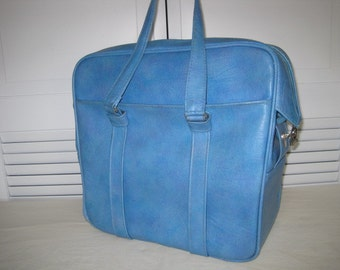vintage Samsonite Silhouette Carryall Tote in French Blue
