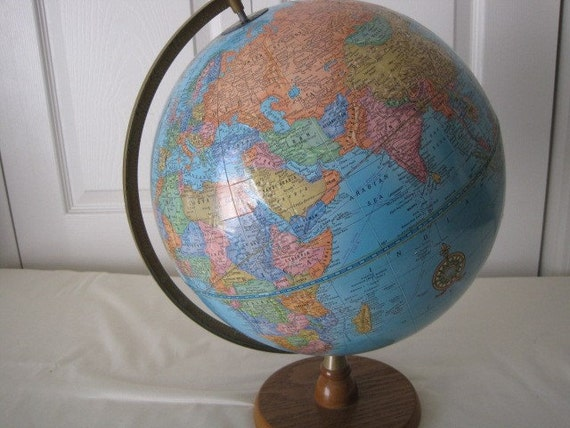 vintage Cram's Imperial World Globe on Wood stand