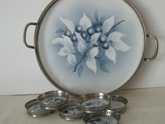 vintage Silverplate and Porcelain Galleried Tray set decorated in shades of delft blue