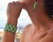 Bracelet  Peyote, green  white,  bead woven cuff, unique handmade  jewelry