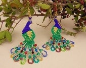 Bead Earrings Peacocks Peyote Stitch MADE FOR ORDER