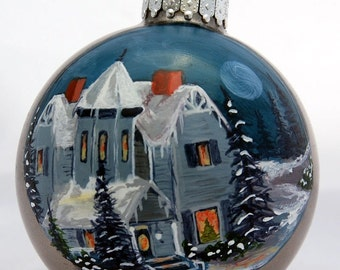 Hand Painted Big Blue Victorian House christmas full moon this is a sample only