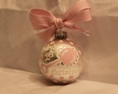 Handpainted Baby Girl 1st Christmas Ornament, Baby Ornament, Baby Shower Gift