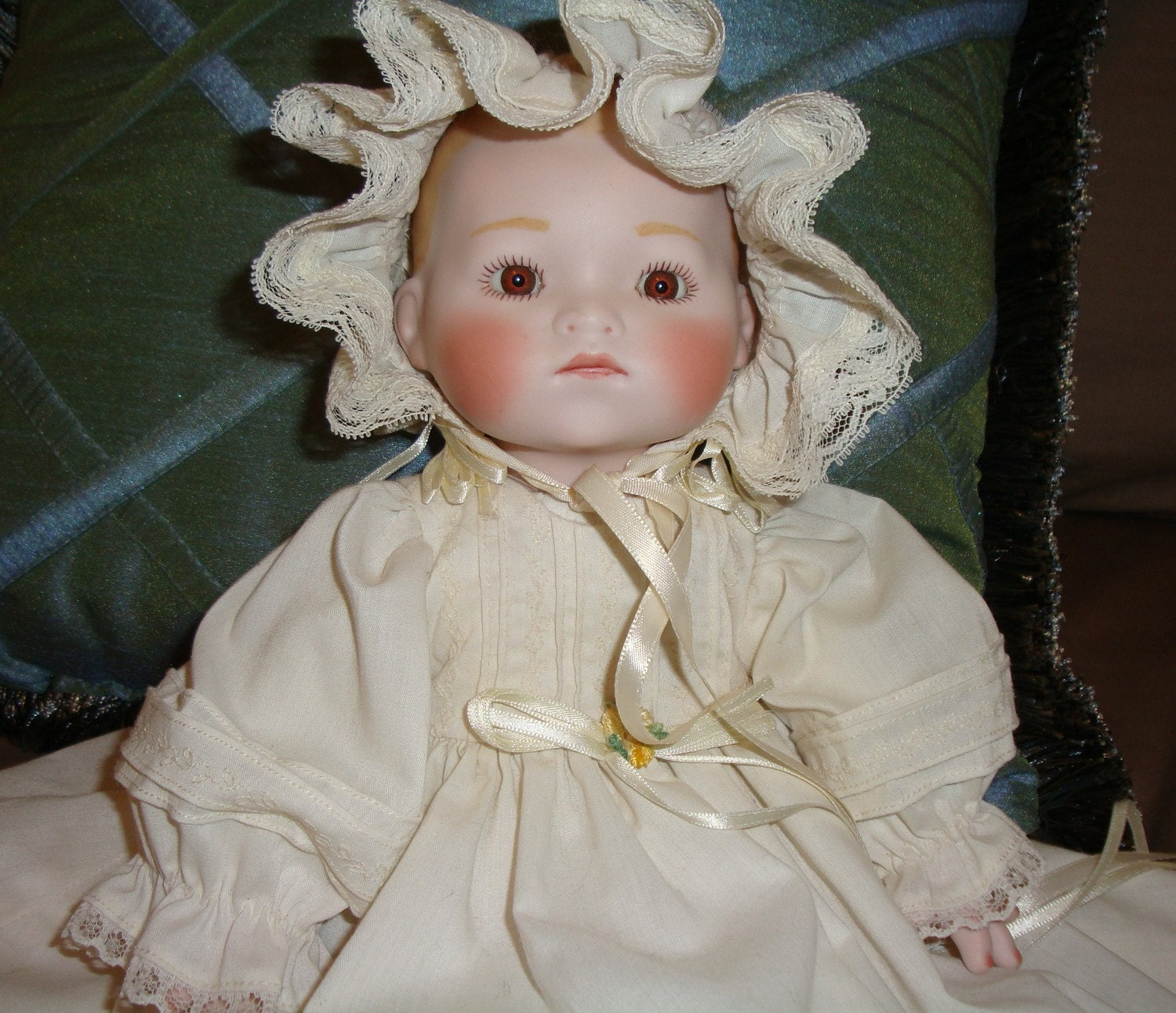 Old Fashioned Doll Accent Pillow Porcelain Face And Hands