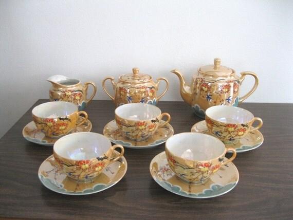 Antique Lusterware Japanese Tea Set 15-piece