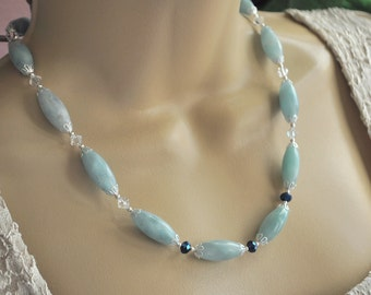 Blue Amazonite Oval Gemstones, Sapphire Crystal and Silver Necklace and Earring Set