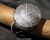 Leaf textured sterling silver ring