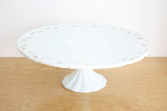 Large Vintage Milk Glass Cake Stand