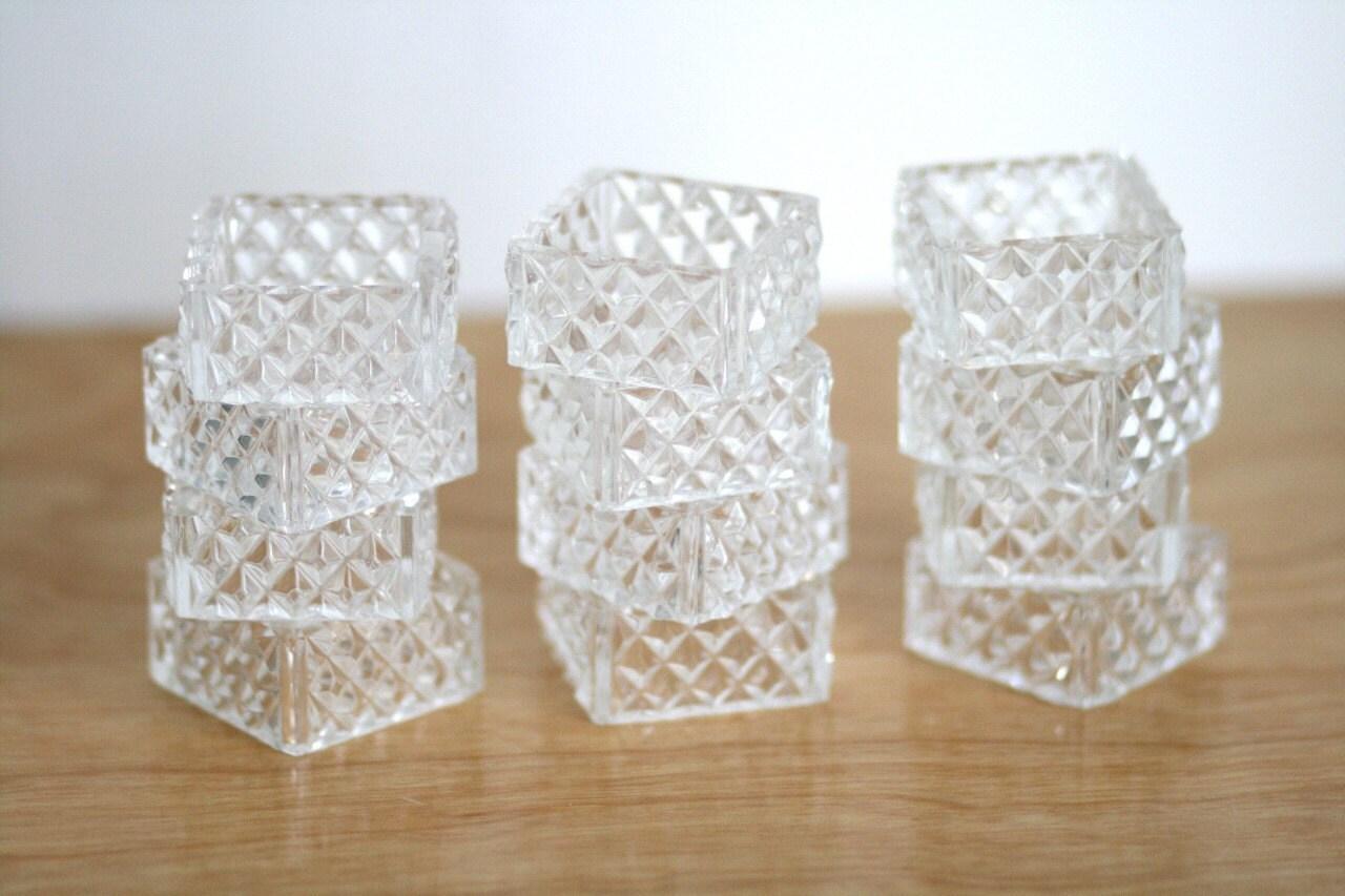 Vintage Set Of 12 Glass Napkin Rings Diamond Cut