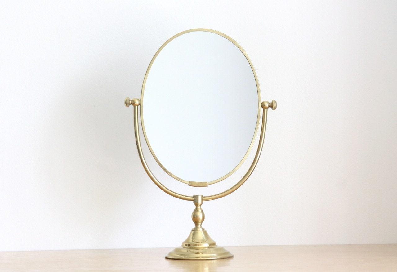 Vintage Brass Standing Vanity Mirror