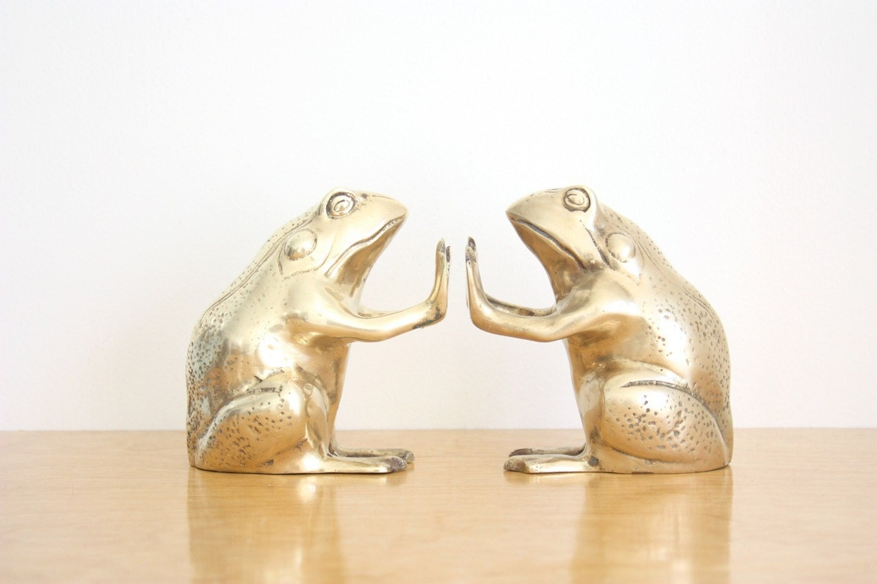 Vintage pair of brass frog bookends - Antique brass bookends ...
