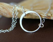 ETERNITY Circle Necklace - Sterling Silver, Single Circle Pendant, Symbolic Necklace, Eternity Necklace.