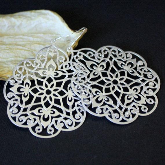 Large Oriental FILIGREE Silver Earrings - STERLING SILVER Earwires.
