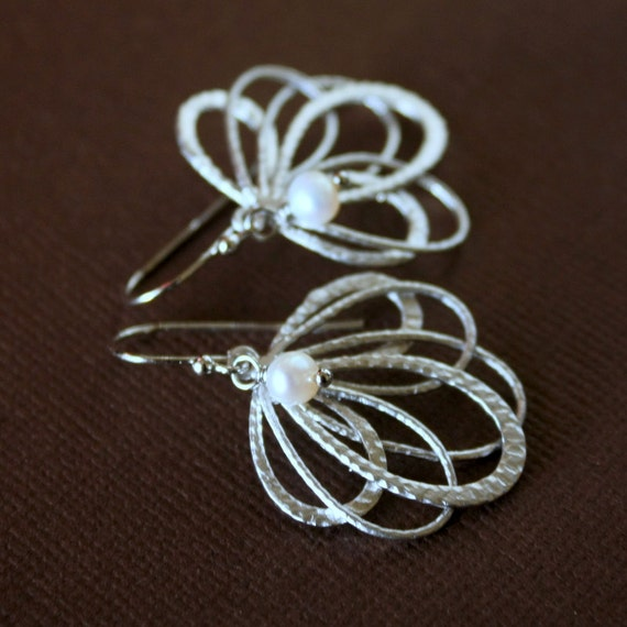 Silver PEACOCK Earrings with Freshwater Pearl, Multi-Hoop Silver Earrings, Freshwater Pearl Earrings.