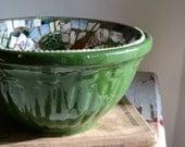 Vintage Green Mosaic Mixing Bowl - Farmhouse Chic