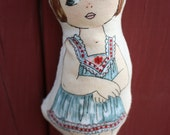 MARYANN Soft Pocket Doll - Organic Cotton Fill Vintage Inspired Childrens Toy