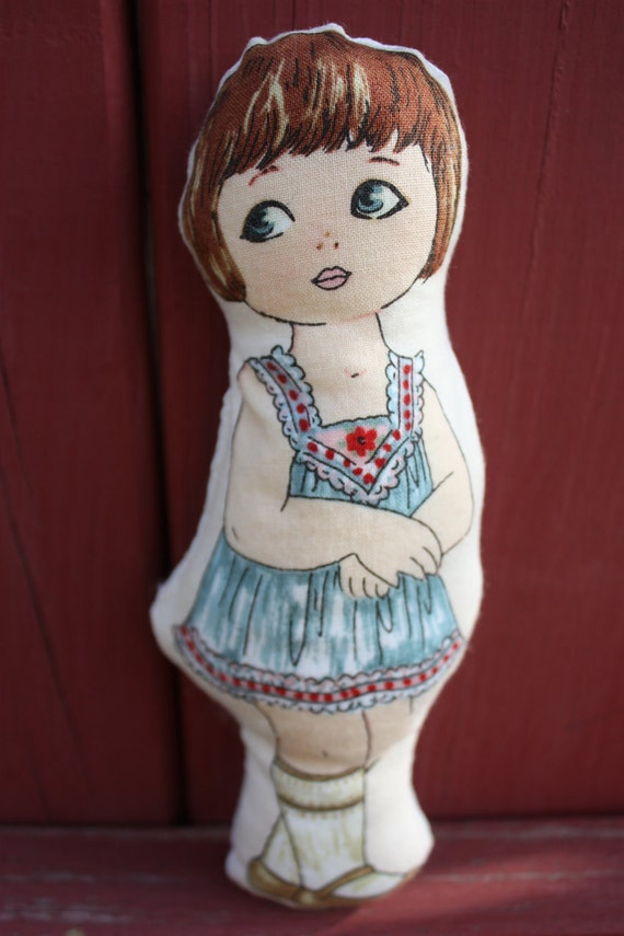 MARYANN Soft Pocket Doll - Organic Cotton Fill Vintage Inspired Childrens Toy