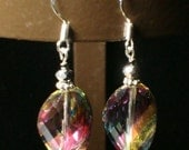 Beautiful Swarovski Crystal Twist Earrings  Sparkles with the colors of a Rainbow