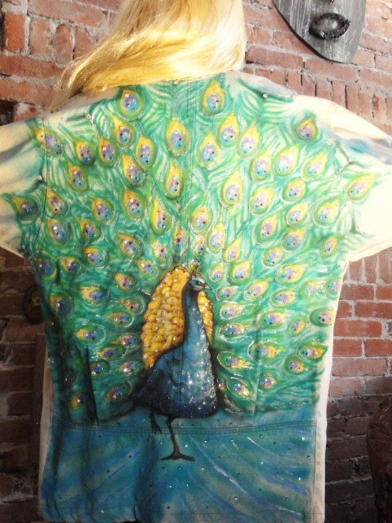 Painted PEACOCK , Vintage Rhinestone Denim Jacket