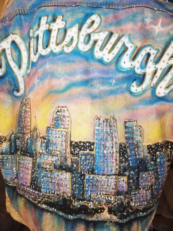 Vintage Pittsburgh City Skyline Rhinestone Jacket
